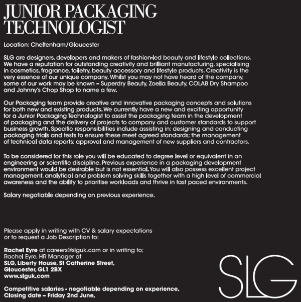 Junior Packaging TechnologistDJpg