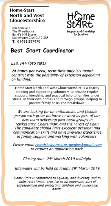 Best-Start Coordinator advertised by GlosJobs co uk